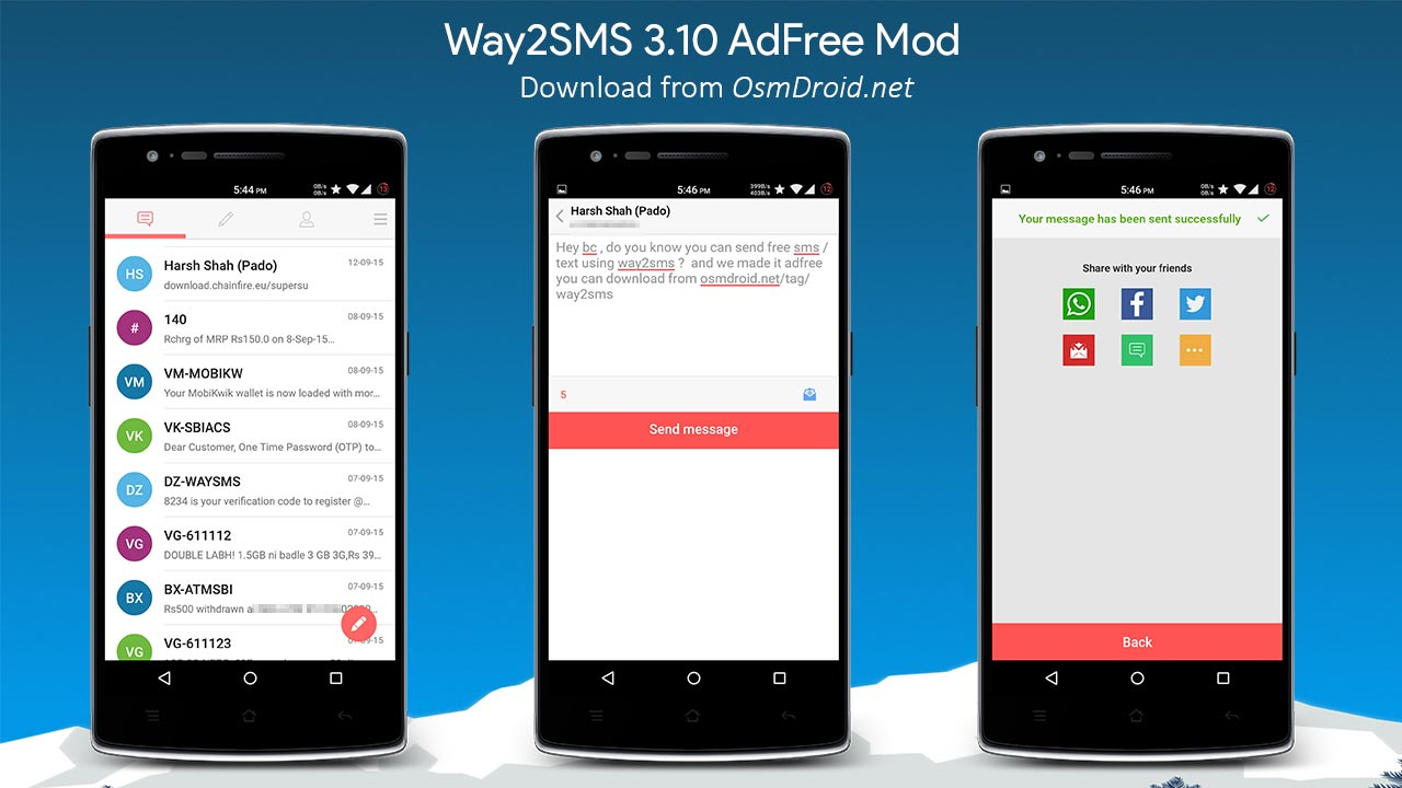 Way2SMS 3.10 APK  AdFree Material Design (India Only) | Latest | Working