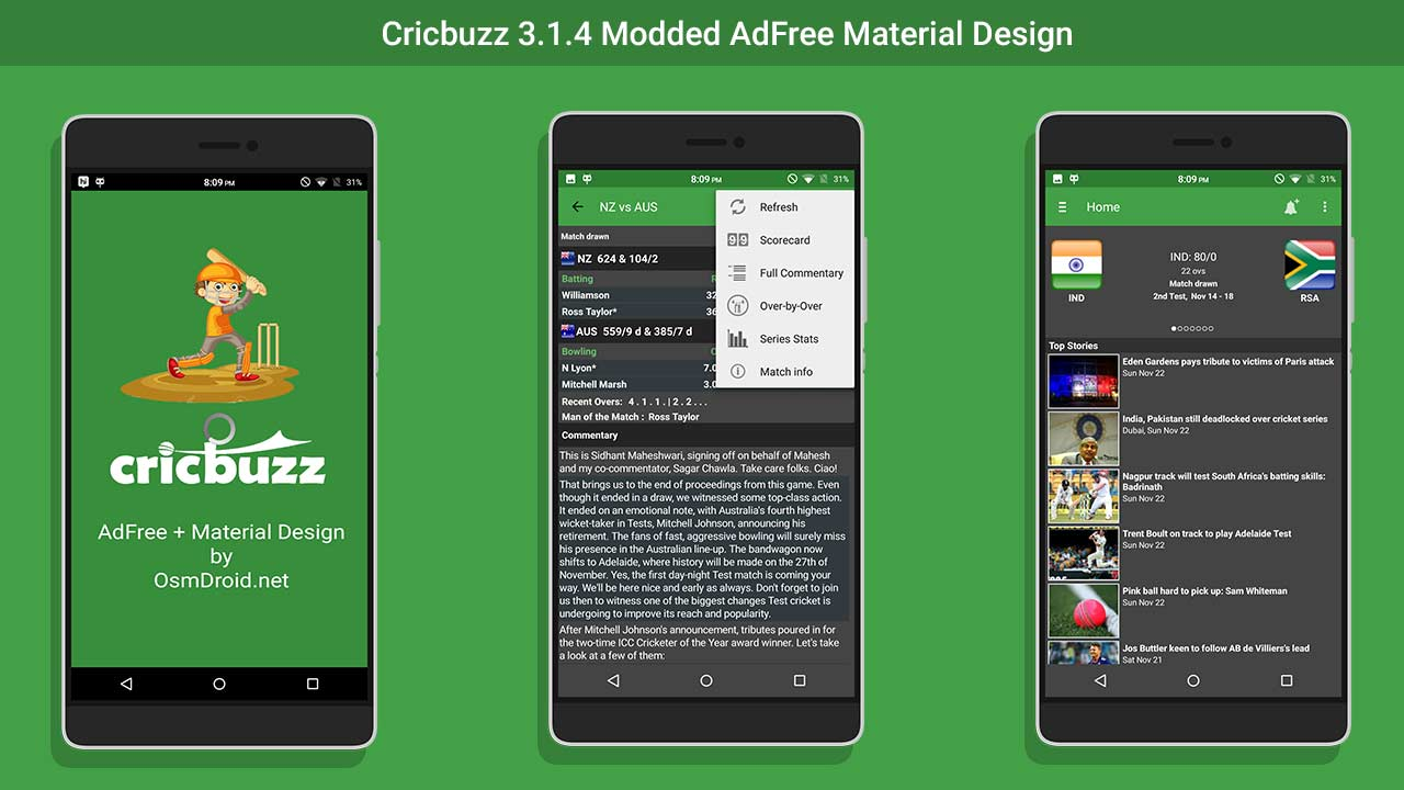 Cricbuzz Adfree Material Design | Latest | Working
